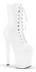 Xtreme 8 Inch High White Patent Granny Boot